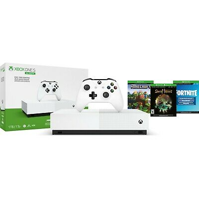 Xbox One S 1TB All-Digital Edition Console 3 game bundle Disc-free Gaming white