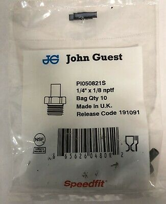 """JOHN GUEST Stem Adapter 1/4""""  X 1/8"""" nptf Gray, (PI050821S) Speed-Fit 10 Pack"""