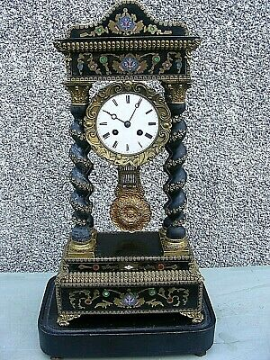 Portico Clock Samuel Marti French Napoleon Iii Wood & Gilt And Stand