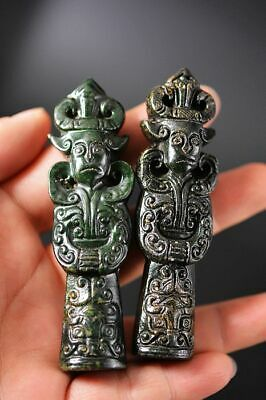 2Pcs Chinese Old Jade Hand Carved Ancient People Pendant/Statue Z1