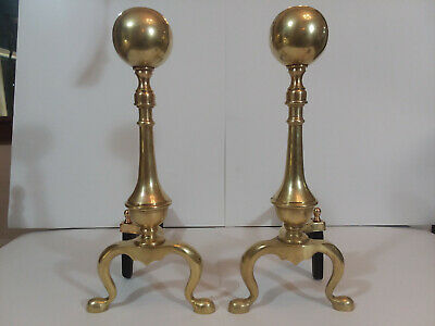 """Antique Cast Brass And Iron Cannonball Andirons Firedogs Marked """"Sheffield Ny"""""""