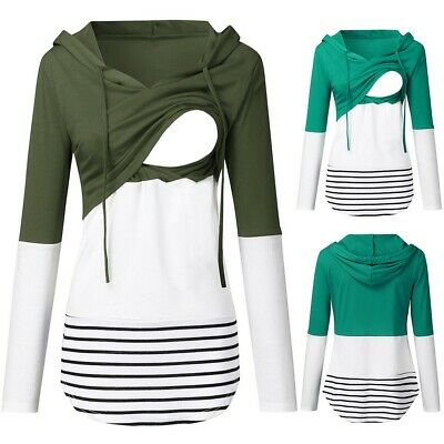 Women Maternity Long Sleeve Striped Hoodie Nursing Sweatshirts For Breastfeeding