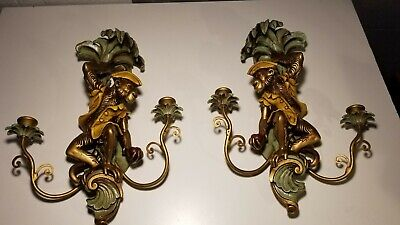 Vintage Hollywood Regency Style Pirate Monkey Candle Wall Sconce Pair USA