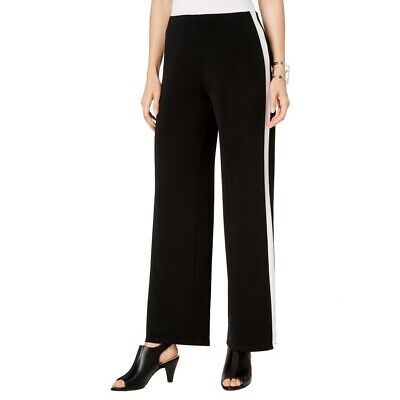ALFANI NEW Women's Wide Leg Side White Stripes Pull On Casual Pants TEDO