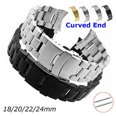 18-24mm Curved Ends Stainless Steel Watch Band Metal Strap w Double Secure Clasp