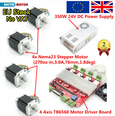(DE/EU)4 Axis Nema 23 Stepper Motor 76mm 270oz-in 3A+TB6560 Driver+350W 24V CNC