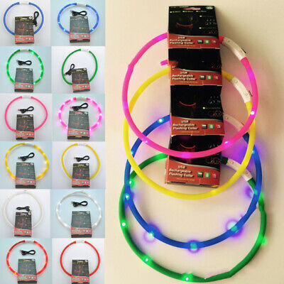 Night Safety LED Pet Dog Collar USB Rechargeable Light up Collar Puppy Silicone