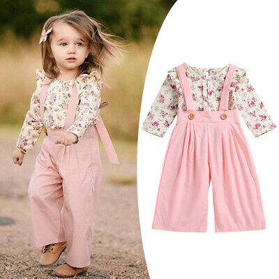 Toddler Kids Girls Floral Shirts Tops Jumpsuit Pants Trouser Clothes Outfits Set