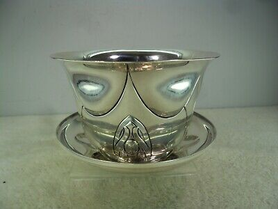 Unusual Arts & Crafts Solid Silver Cup & Cover Saucer, London 1902