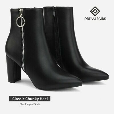 DREAM PAIRS Women Winter Faux Fur Lined Ankle Boots Block High Heel Boots