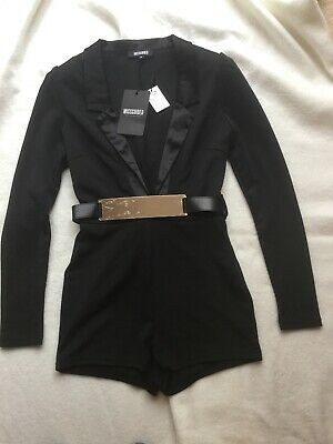Missguided Black Satin Tuxedo Long Sleeve Playsuit. Uk12 BRAND NEW WITH TAG