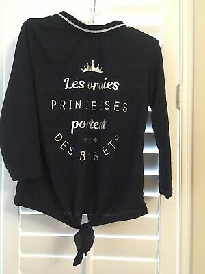 French Little Princess Slogan Top Navy Blue 8 Yrs Old Girl Tie Front Knot