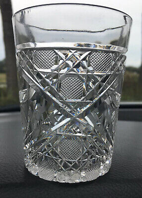 3 Stunning Vintage LEAD CRYSTAL CUT GLASS  8 Oz OLD FASHIONED GLASSES