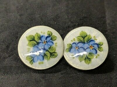 Rare antique pair of Silver & Enamel  BUTTONs 1911 deakin and francis birm