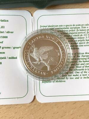 BOX COA MOLDOVA SILVER PROOF 50 LEI COIN 2013 YEAR RED BOOK DAMSELFLY