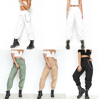 Women Chain High Waist Sports Combat Pants Tactical Casual Ladies Cargo Trousers
