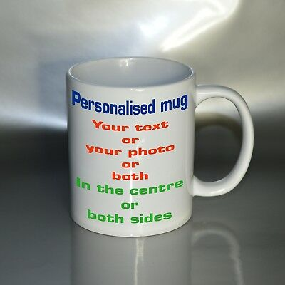 PERSONALISED PHOTO MUG CUSTOM CUP GIFT NAME DESIGN Christmas Birthday Valentines