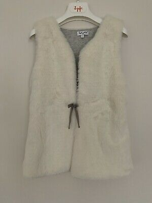 Girls Splendid Age 7 - 8 Years Gilet Faux Fur Bow Button Ivory