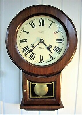 Vintage 31-Day Striking Drop Dial Wall Clock - Working