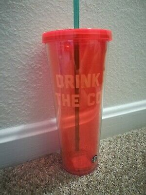 Starbucks Reusable Venti Cold Cup Orange 24 oz New Drink All The Coffee