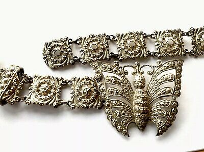 Antique Beautiful Silver Plated Butterfly Buckle Ornate Chatelaine/ Nurses Belt