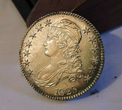 1828 Capped Bust Half Dollar small 8 Square 2 Toned - Almost Uncirculated