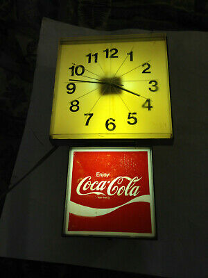 Vintage Drink Coca Cola Wall Clock, Electric, Lighted, 1960's-70's WORKS!
