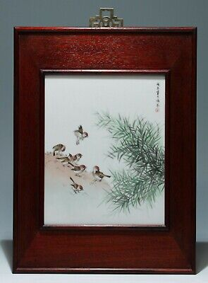 Handpainted Chinese Porcelain Tile Birds and Bamboo Branches