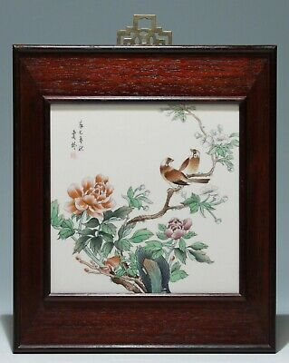 Handpainted Chinese Porcelain Tile Birds on Blooming Branches