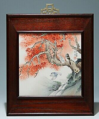 Handpainted Chinese Porcelain Tile Birds on Branches