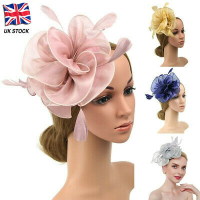 Flower Feather Fascinator Headband Hair Accessories Ladies Race Royal MM lskn