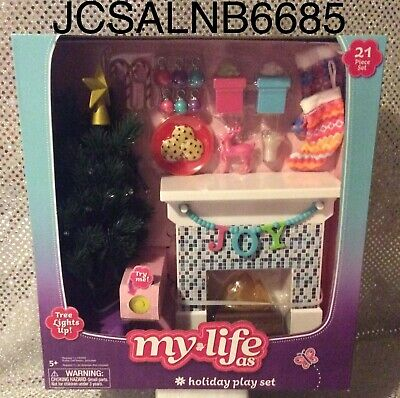 Holiday Play Set For My Life As Dolls🎁 21 Pieces With Light Up Christmas Tree🎄