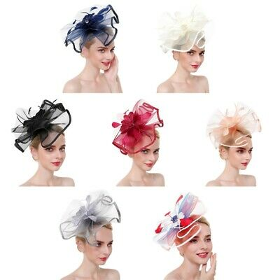 Ladies Feather Mesh Hair Clip Hat Fascinator Race Royal Ascot For &Party lskn