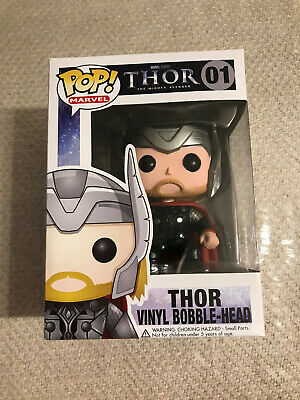 Funko Pop Marvel Thor Bobble-Head #01 - Vaulted/Retired - RARE In Protector