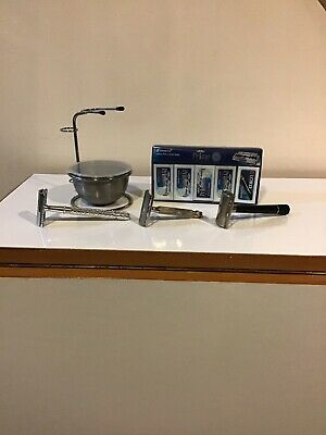 Safety Razor Lot Schick Krona Lord Gillette Tech with Razor Stand and 95 Blades