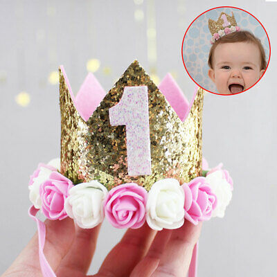Baby Princess Birthday Headband Flower Tiara Girl Party Crown Boy Decoration