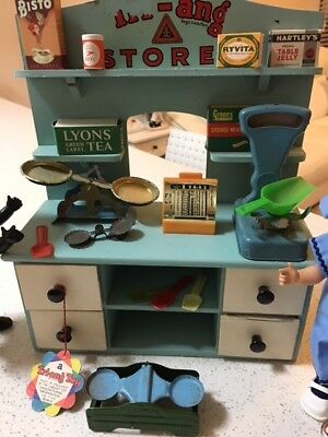Rare Tri-ang Antique 1930s wooden Grocery shop complete set, original swing