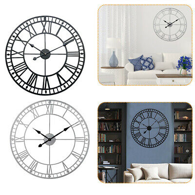 Black White Wall Clock Large Antique Classic Metal Skeleton Numeral 40cm Face UK
