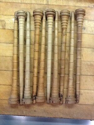 Vintage Wooden Industrial Thread  Textile Spool Bobbin Quill Lot of 10. 12 In.