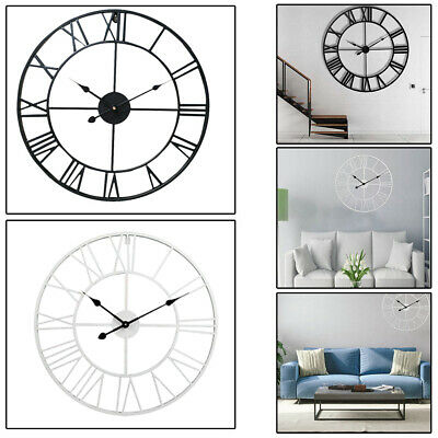 1x 40CM Large Outdoor Garden Wall Clock Big Roman Numerals Giant Open Face Metal