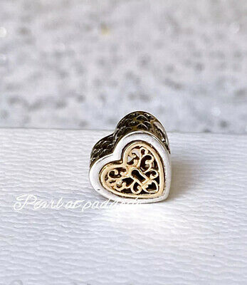 Authentic Pandora Sterling Silver & 14kt Gold Locked Hearts Charm W/ Gift Pouch