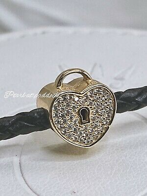 Authentic Pandora 14kt Gold Heart Lock Charm W/ Gift Pouch