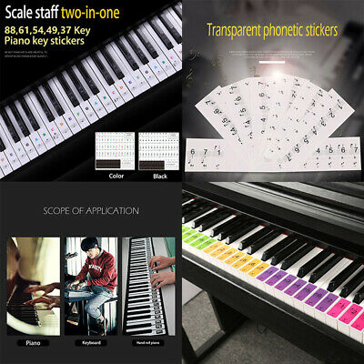 Colorful Music Keyboard Piano Stickers Fit 88 61 49 37 KEY Piano Removable Clear