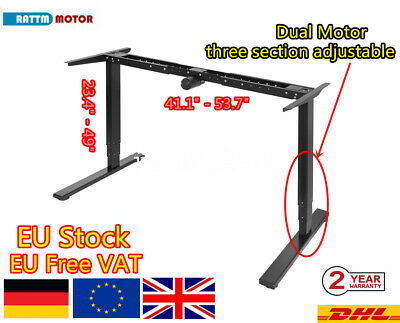 「UK」 Black Dual Motor Automatic Height Adjustable Stand Office Desk Work Table