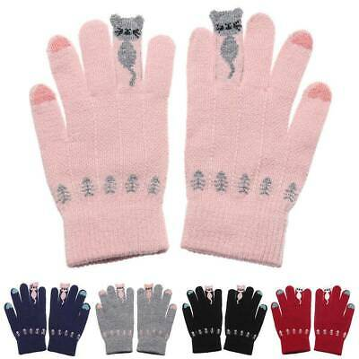 Cute Cartoon Cats Winter Warm Knitted Gloves Full Finger Touch Screen Mittens~