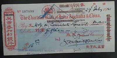 RARE 1941 China Chartered Bank of India Australia & China Cheque for $15 Used