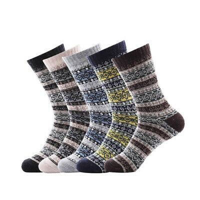5Pairs Mens Wool Cashmere Socks Warm Winter Thick Vintage Business Comfortable