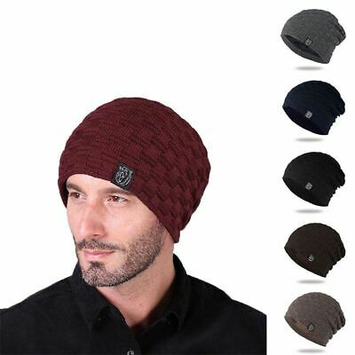 Unisex Warm Winter Knit Slouch Beanie Hat Simple Solid Colors Fur Fleece Caps