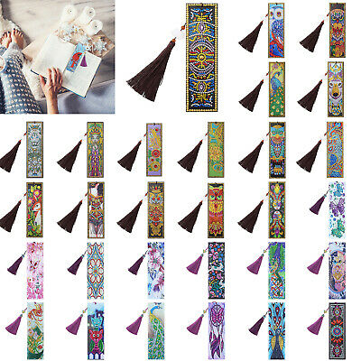 5D DIY Diamond Painting Leather Bookmark Tassel Book Marks Special Shaped Decor