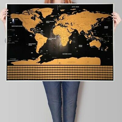 Scratch Off World Map Journal Travel Map Of The World Bar Home Decor Poster UK